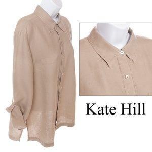 Kate Hill Tan Linen Button Down Shirt - M